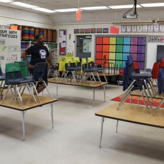 Empty first grade classroom in Chico, CA